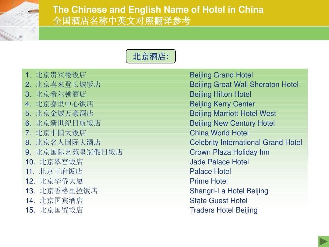 附录5-全国酒店名称中英文对照翻译ppt图片