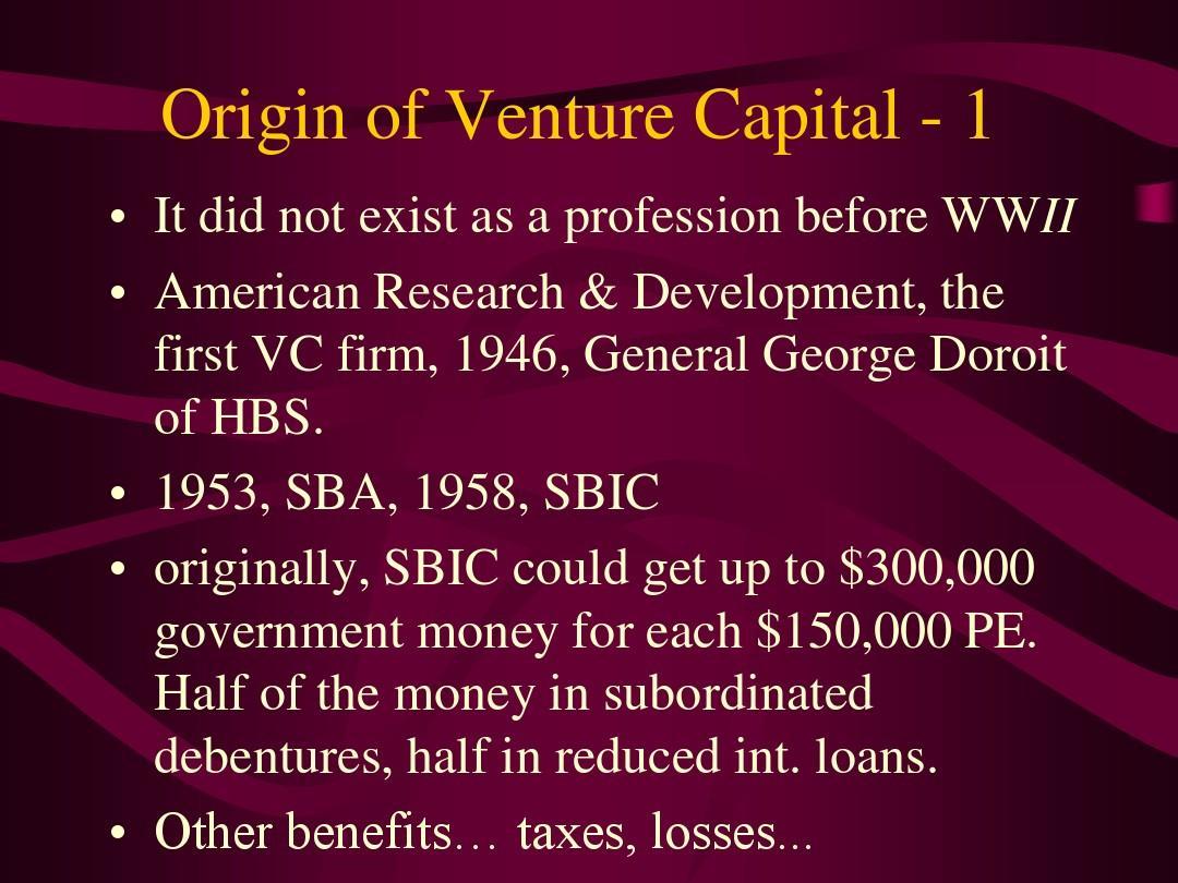 Origin of Venture Capital - 1(风险投资创新与金融的结合,刘曼红)PPT