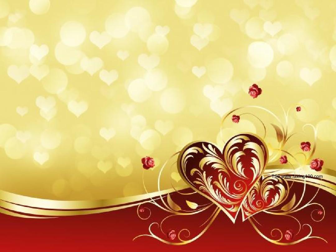 浪漫爱心背景结婚庆典ppt模板
