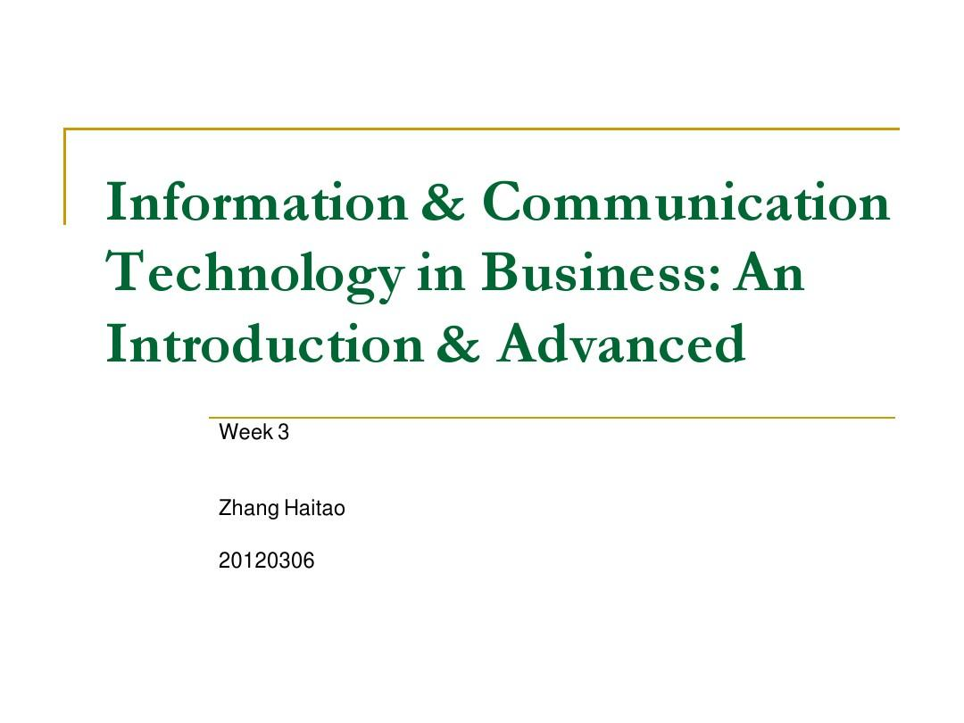 ICT in Business Week 3PPT