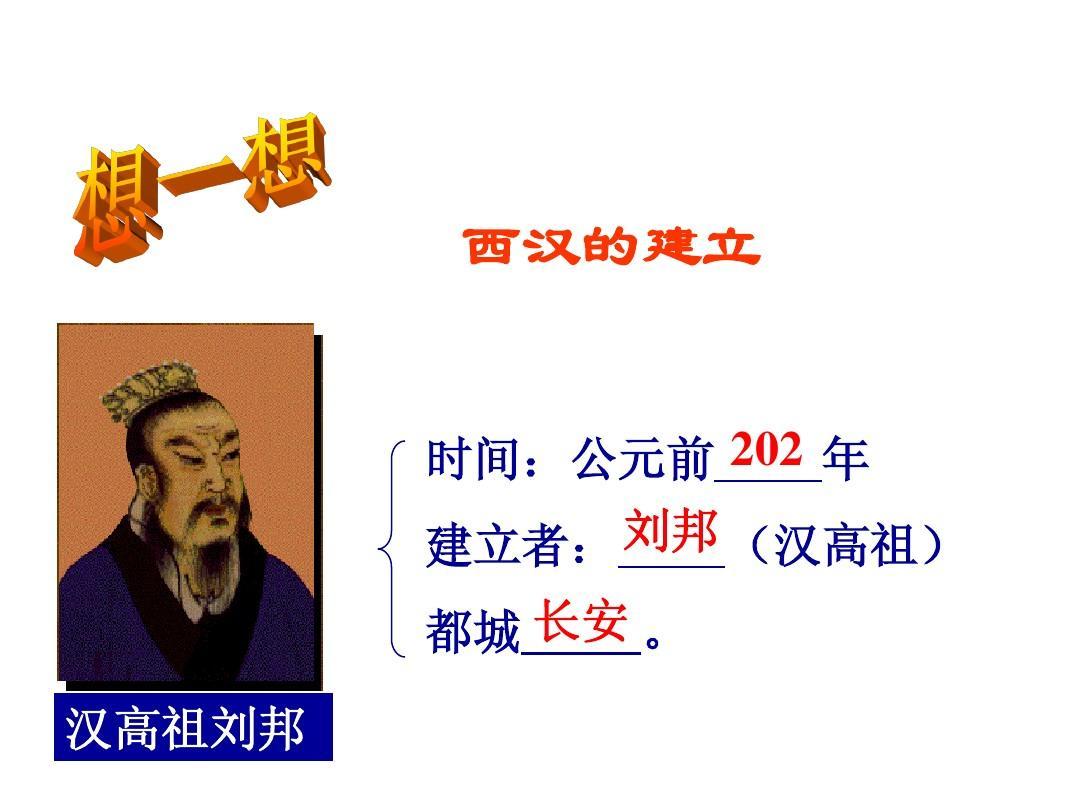 第12课 大一统的汉朝教学参考课件(新人教七年级上册)