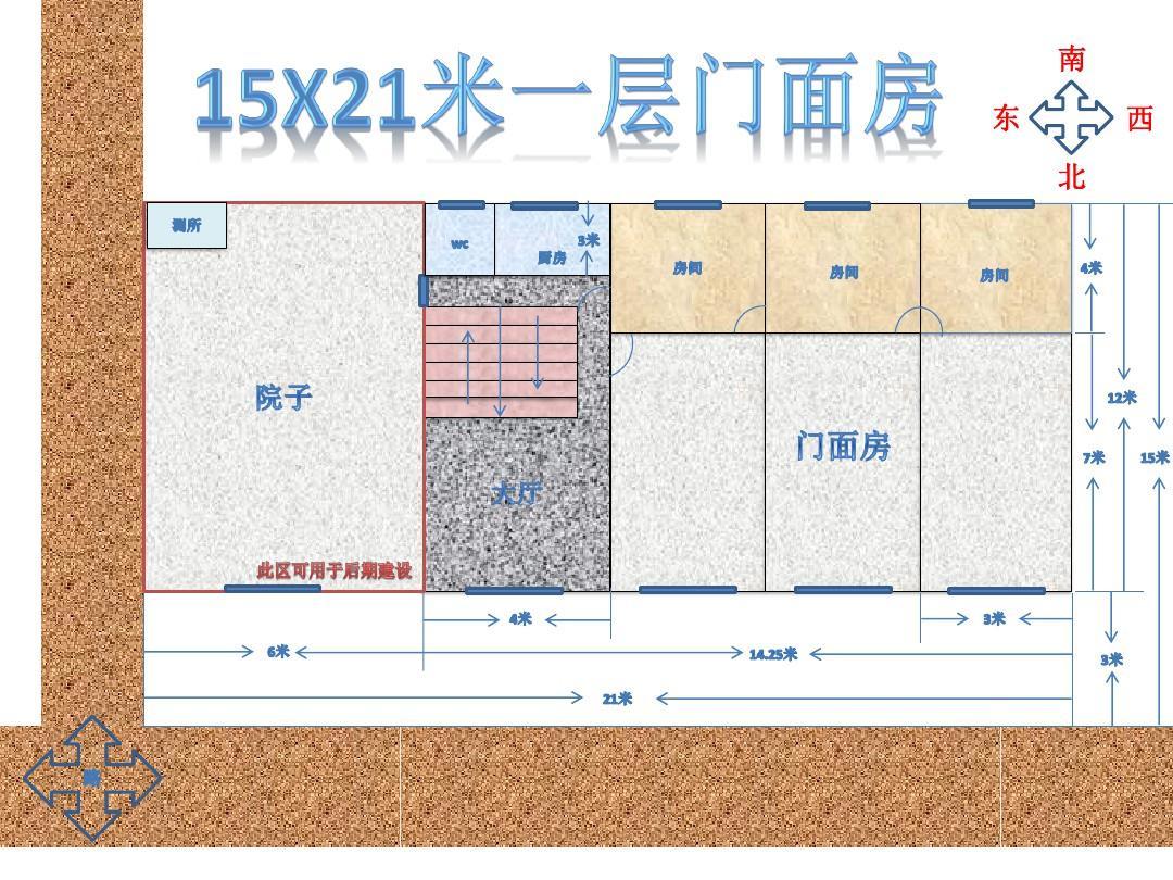 农村15x21米一层门面房二层住房设计草图ppt图片