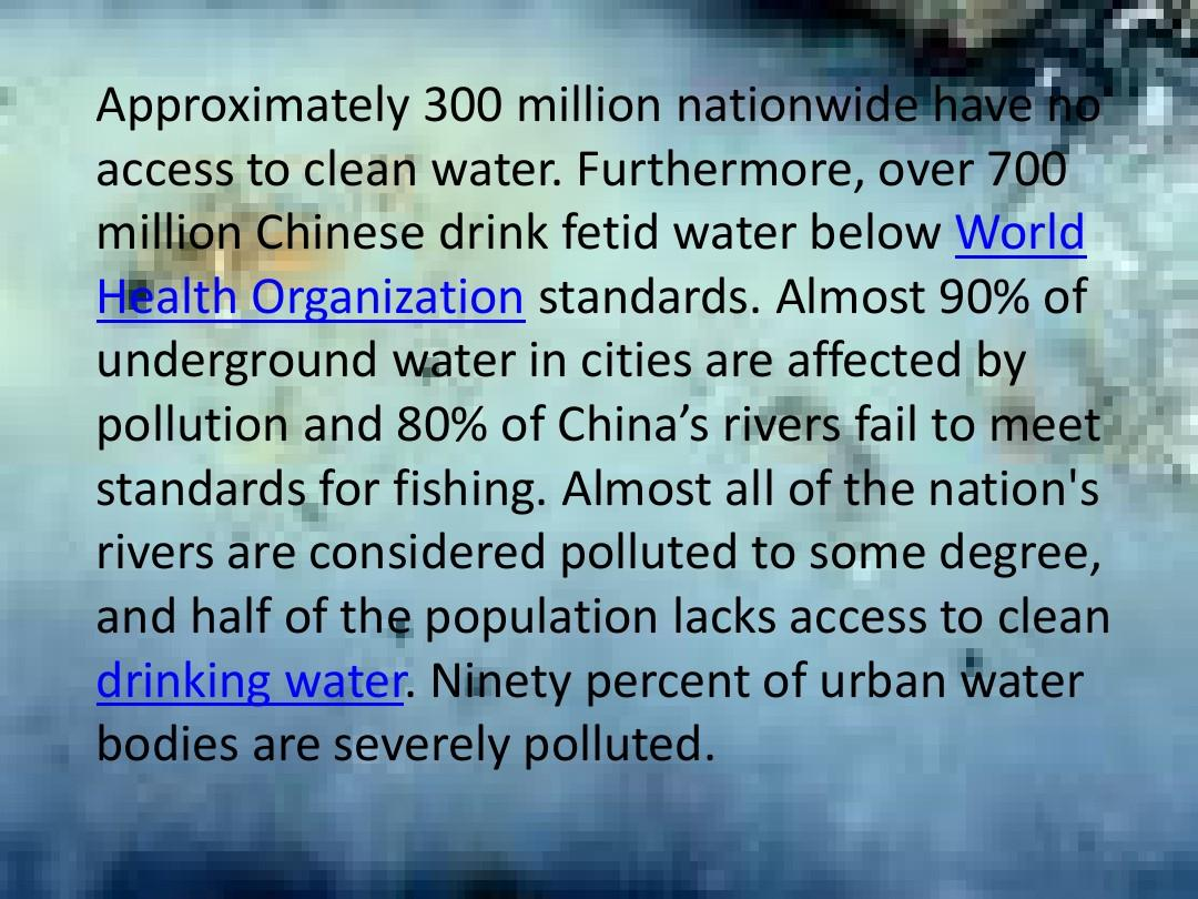 ninety percent of urban water bodies are severely polluted.