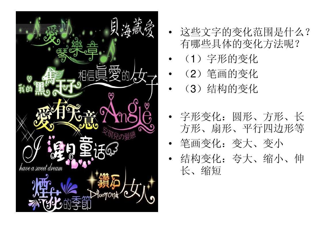 变体美术字课件1ppt图片