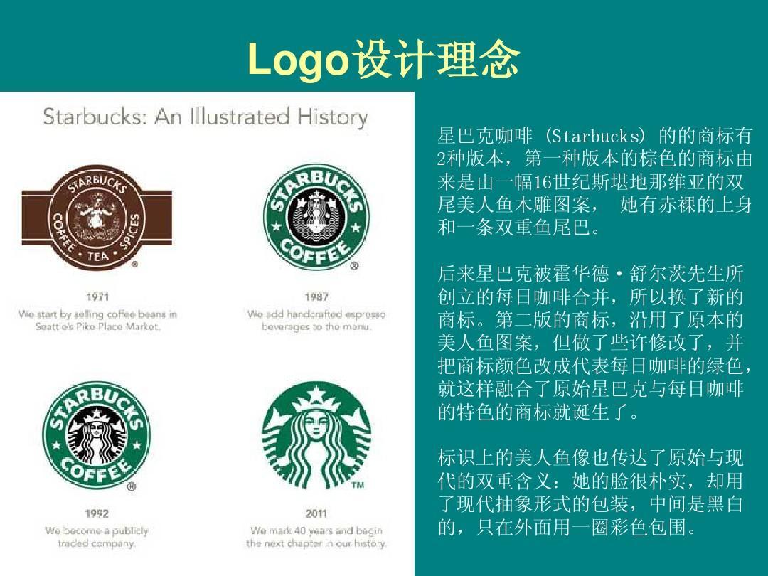 logo设计理念 星巴克咖啡 (starbucks) 的的商标有 2种版本,第一种