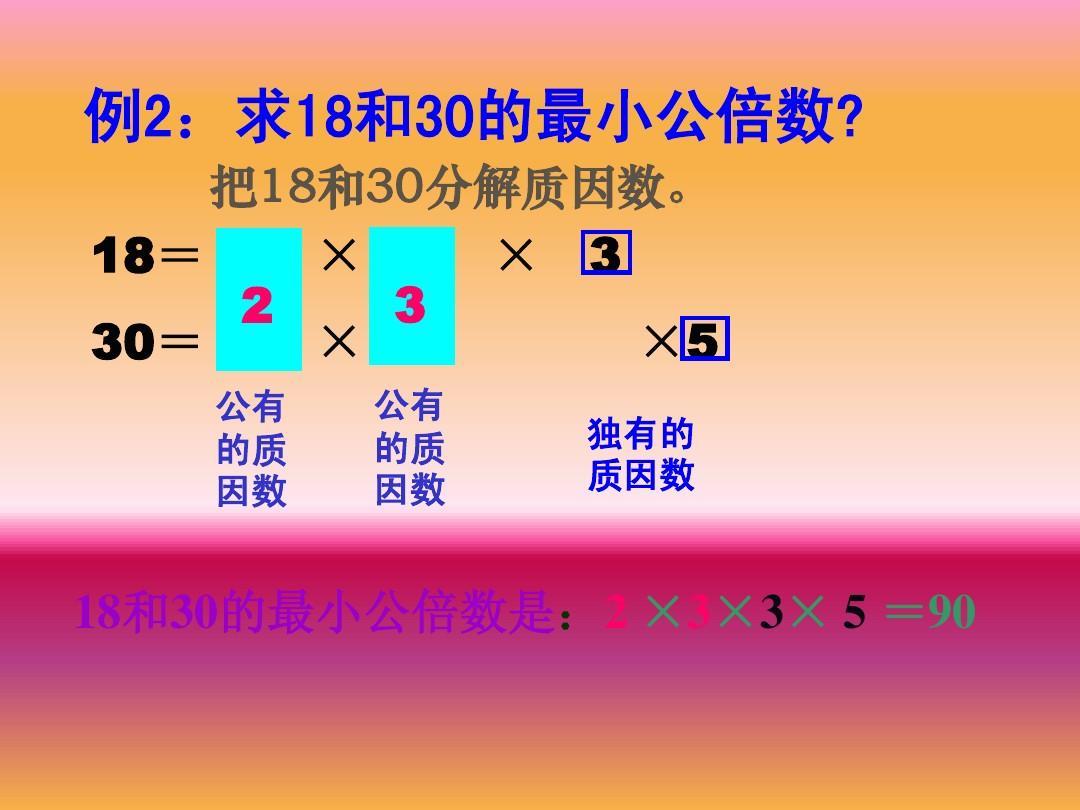 《最小公倍数》ppt年级2013小学五上册教案教学课件例2:求18和30的六年级v年级与数学课件技术图片