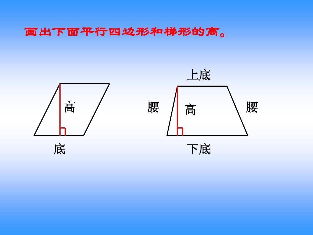 画出下面平行四边形和梯形的高. 上底 高 底 腰 高 下底 腰图片