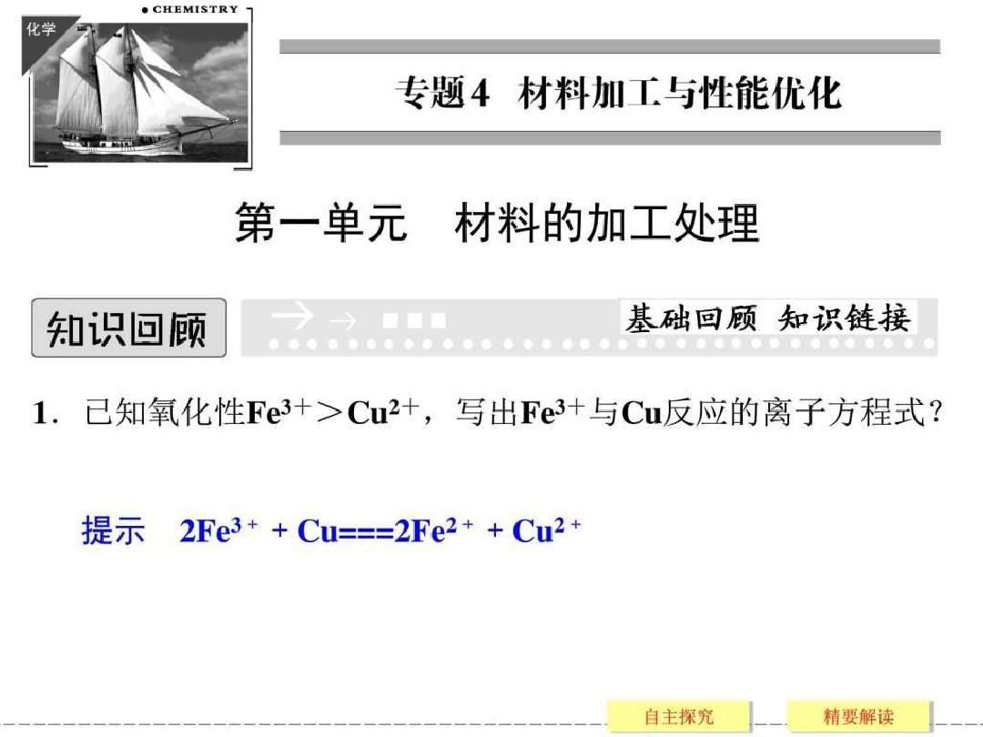 (苏教版化学选修2)4.1《材料的加工处理》ppt课件(31页)33页PPT文档