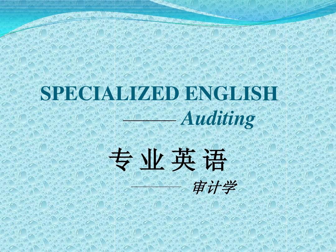 审计专业英语