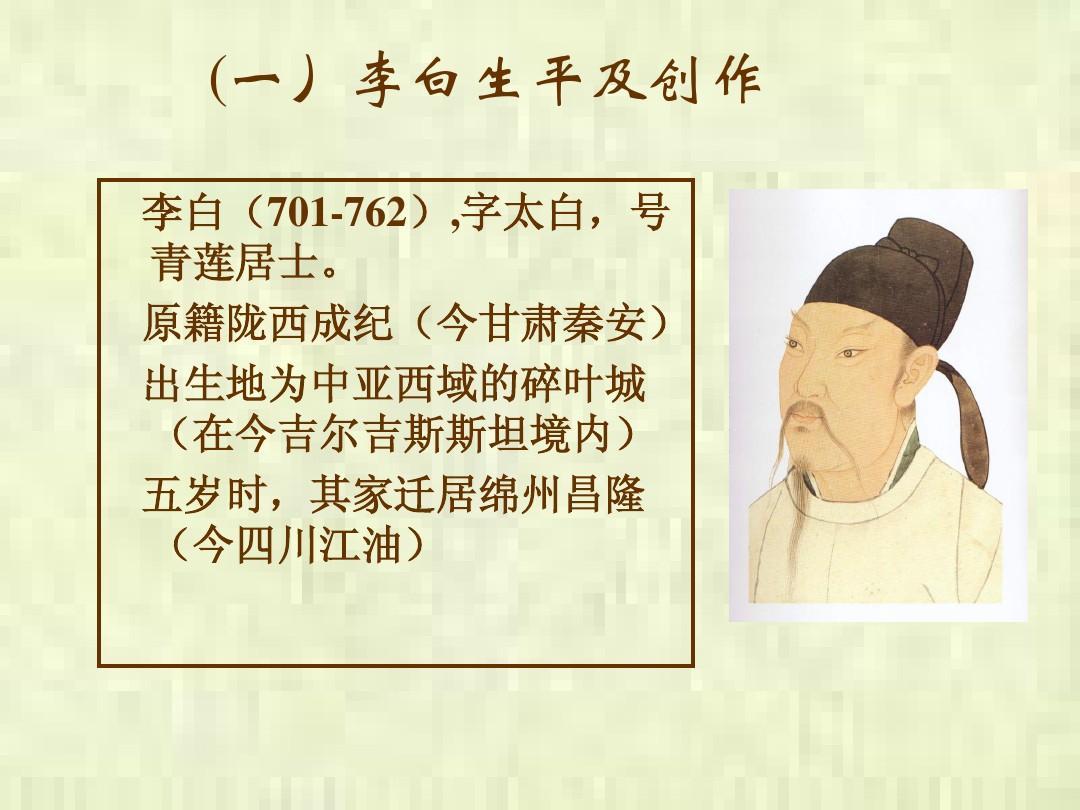 李白的诗歌ppt图片