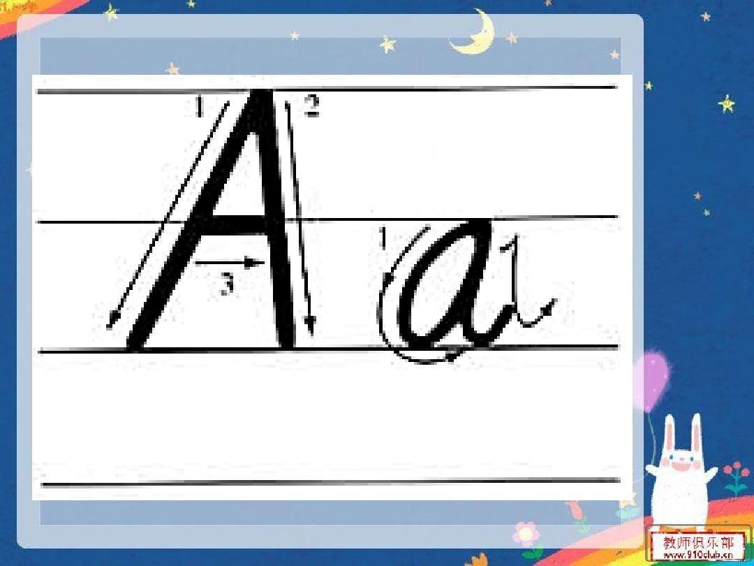 26个英语字母大小写手写体示范ppt图片