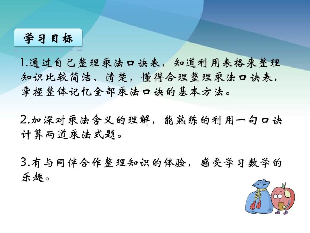 【苏教版】二年级数学上册《6.6 乘法口诀表》精品课件ppt图片