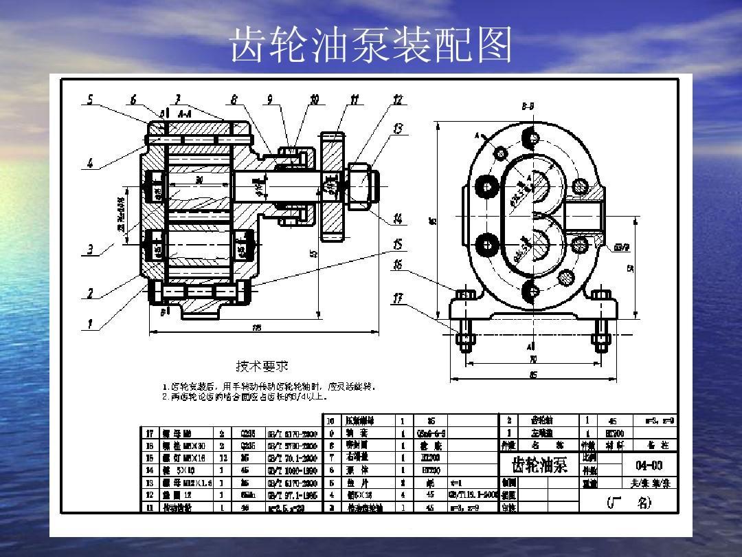齿轮油泵装配图图片
