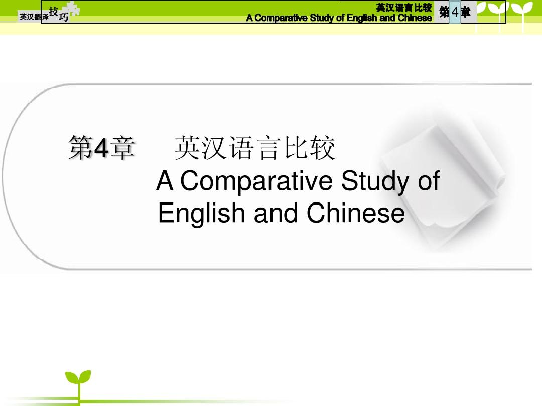 第四章 英汉语言比较PPT