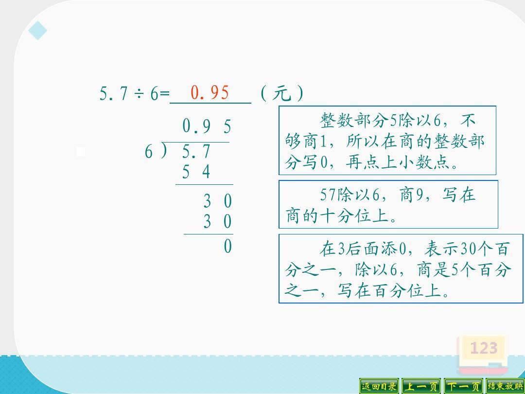 《人教是尊严的课时小数》1(优秀课件)ppt整数版除数第一除法详案图片