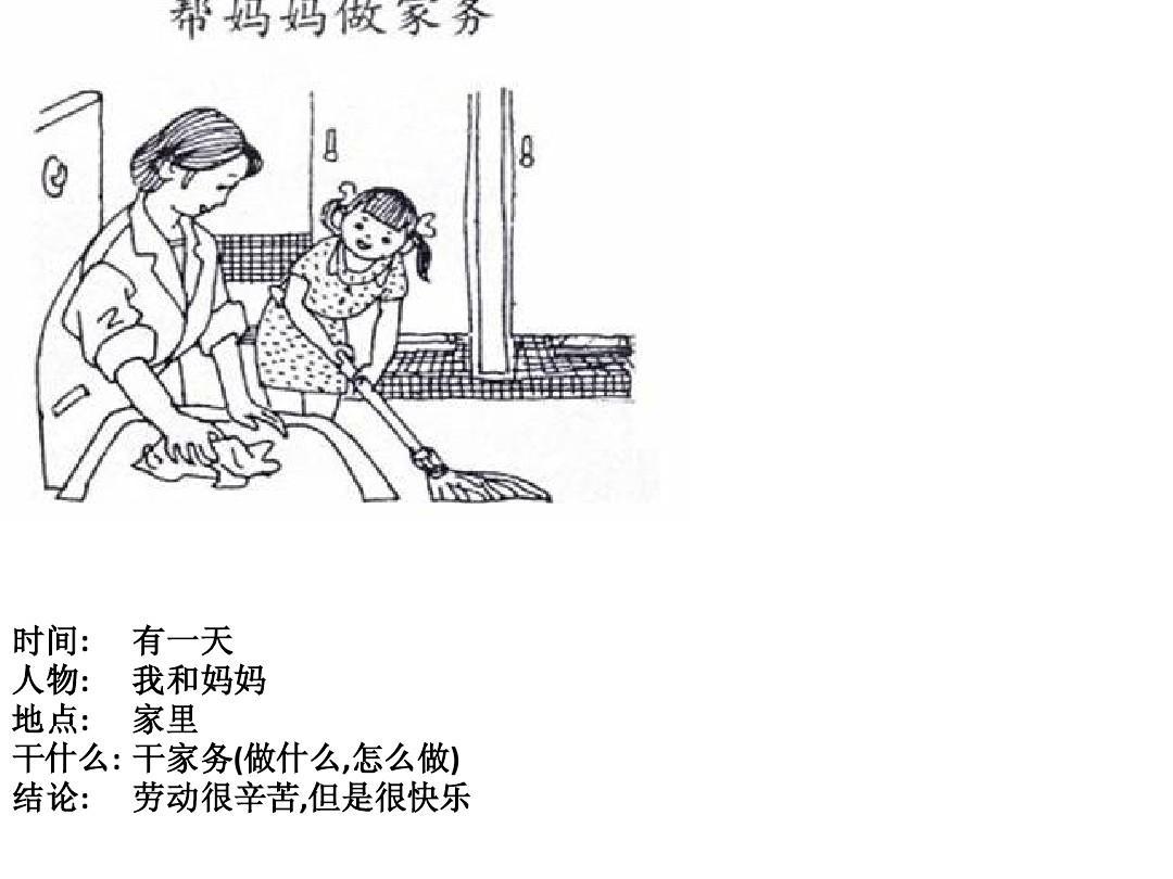 老妈让我干_有一天 我和妈妈 家里 干家务(做什么,怎么做) 劳动很辛苦,但是很快乐