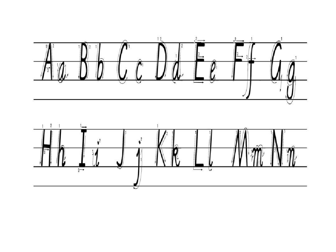 26个英文字母大小写写法ppt图片