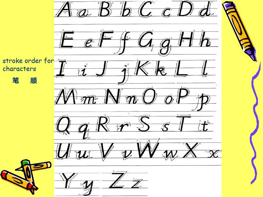 26个英文字母手写体笔顺及占格ppt图片