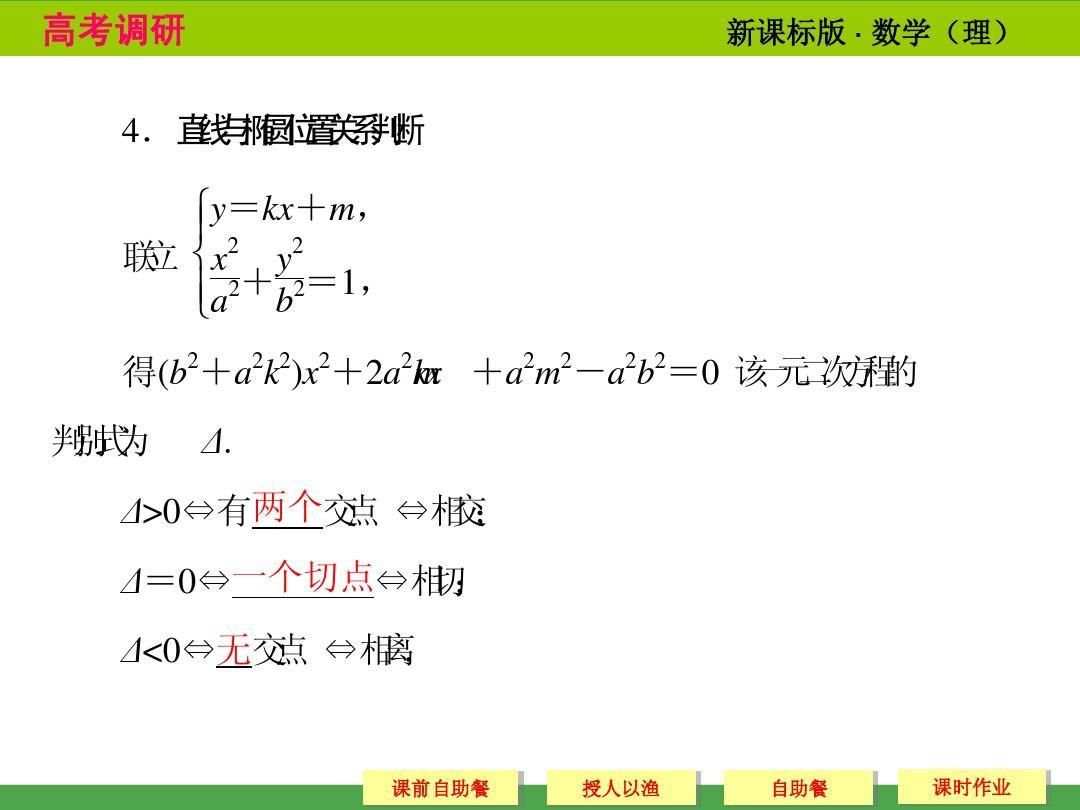 2014高考调研椭圆数学课本讲解_9-6高中(二)ppt理科没题谷图片