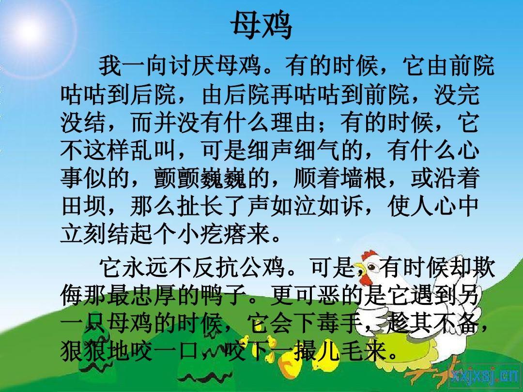 冀教版语文六年级上册课文《母鸡》ppt图片
