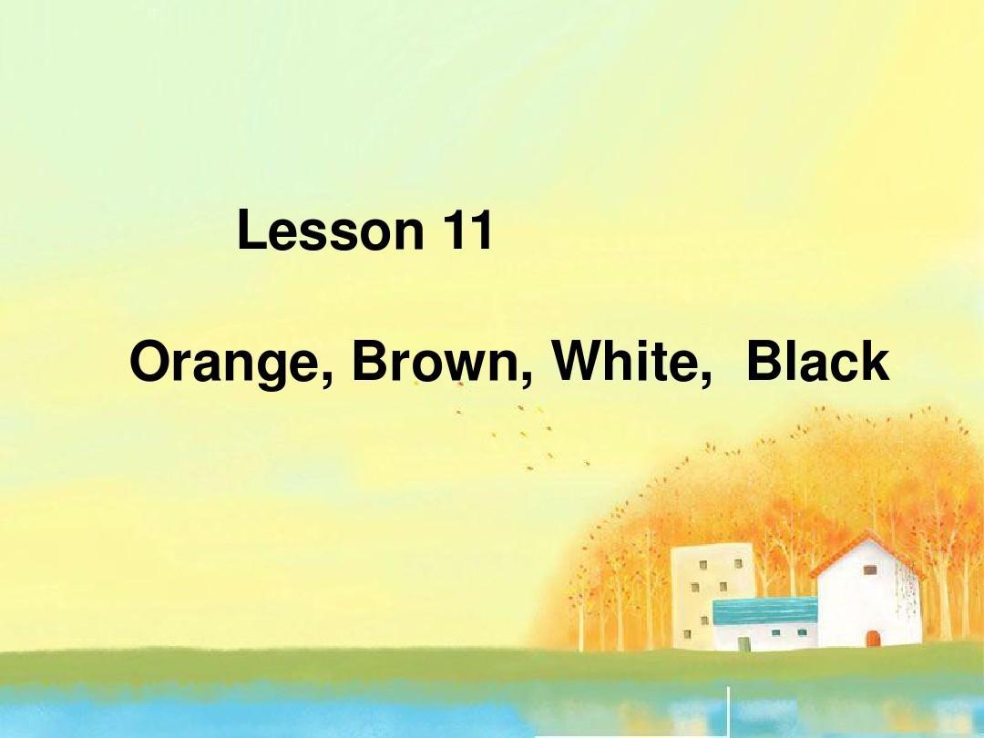 (新版)冀教版2015-2016年三年级英语上册《Lesson 11 Orange, Brown, White, Black》课件1