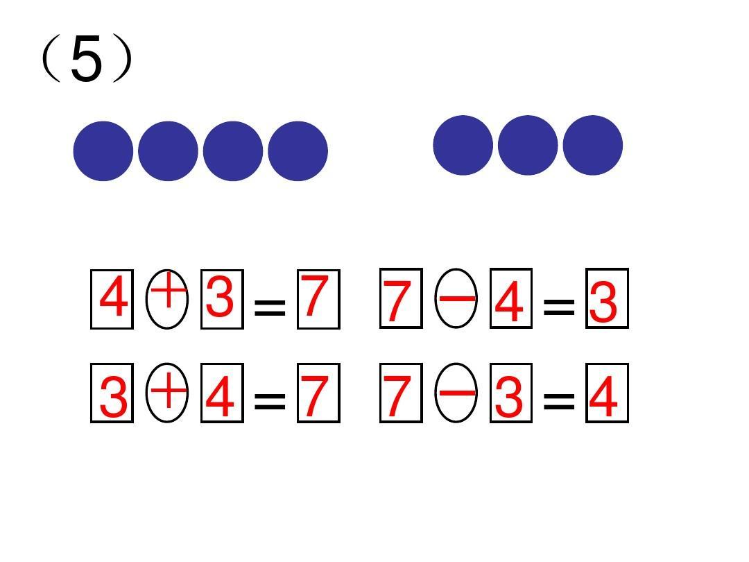 一年级数学上册一图四式练习题答案ppt图片