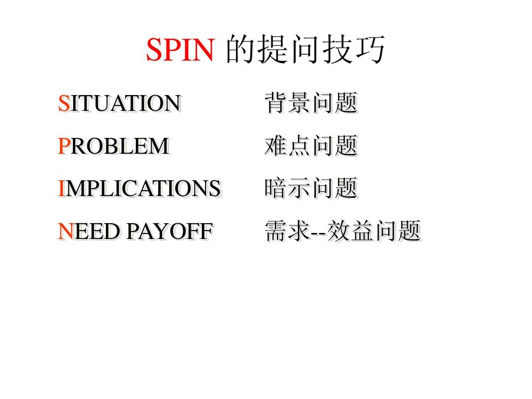 spin 的提问技巧 situation problem implications need payoff 背景