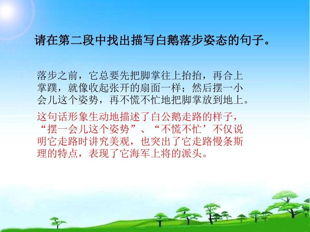 最新整理新人教版小学四年级语文上册白公鹅精品ppt课件