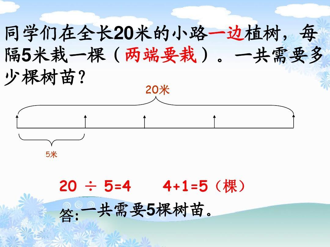 2014最新课标人教版五问题年级答案《云集课件》v问题ppt数学上册下载备课植树图片