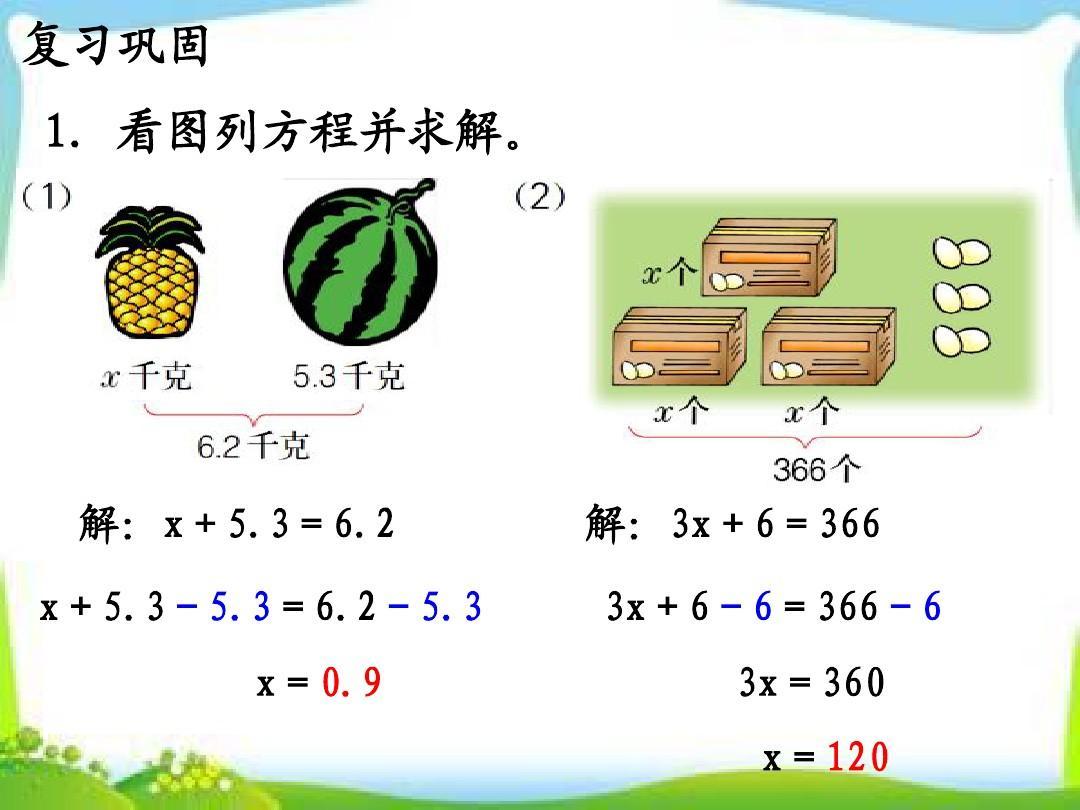年冀教版单元五上册年级第8课时《答案(整理与v单元)》教学课件方程pptaoouiu数学第一说稿课图片