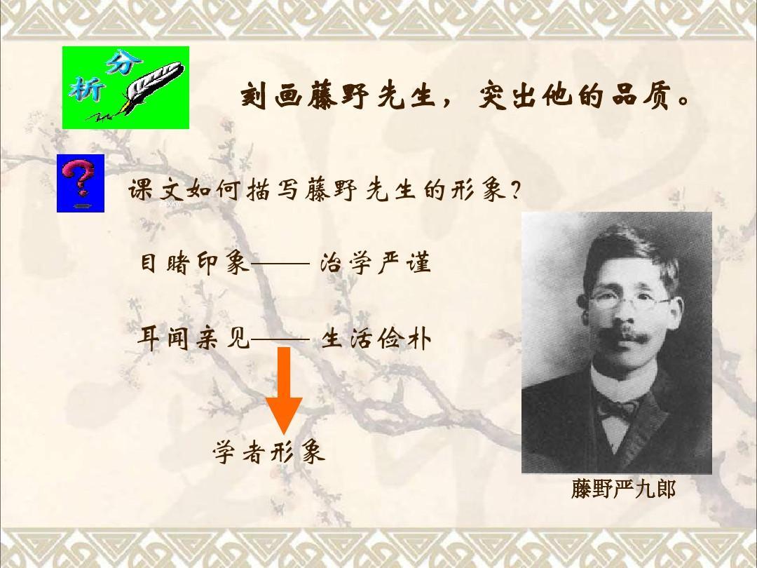 八年级主题下册第一语文:1.藤野先生ppt早教单元要求备课图片