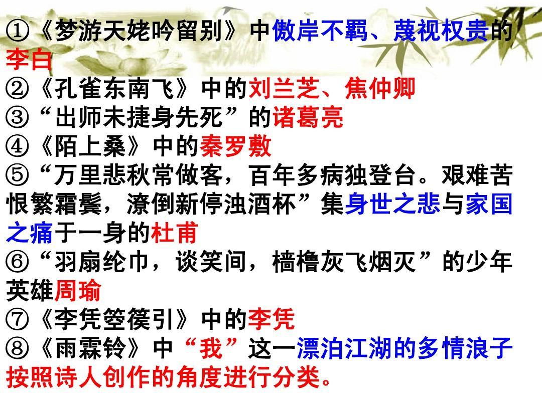 古诗词鉴赏之人物形象鉴赏ppt图片
