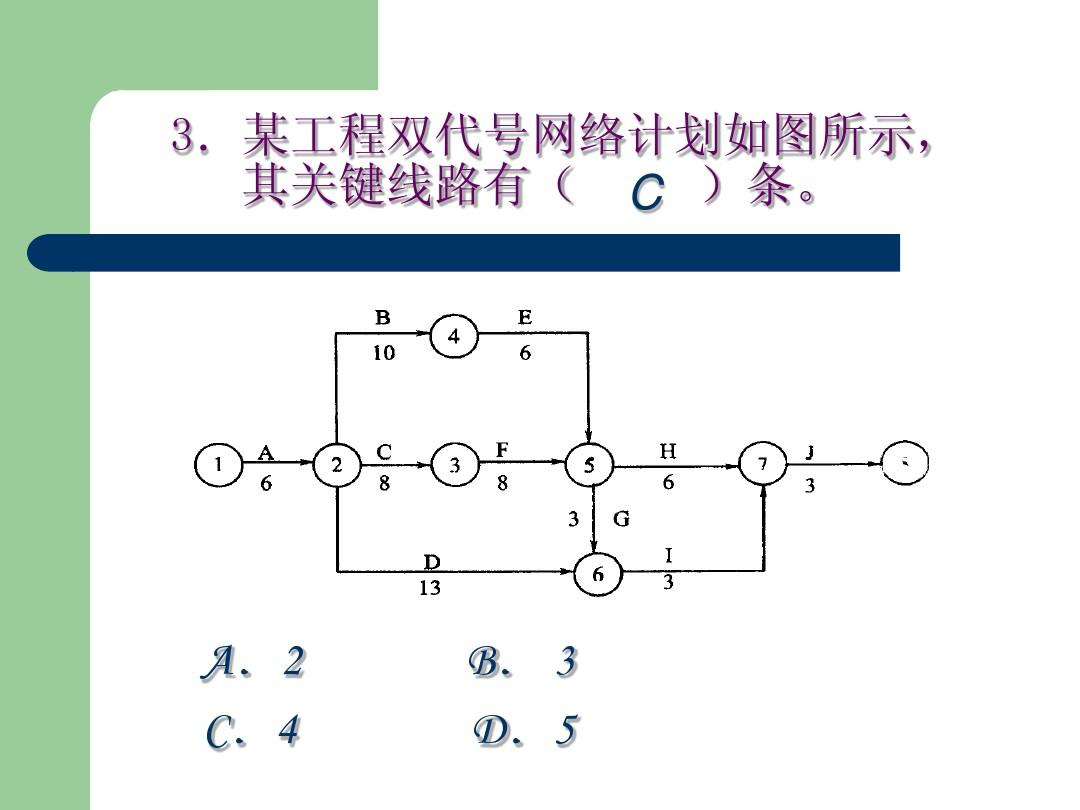 某工程双代号网络计划如图所示, 其关键线路有( c )条.图片