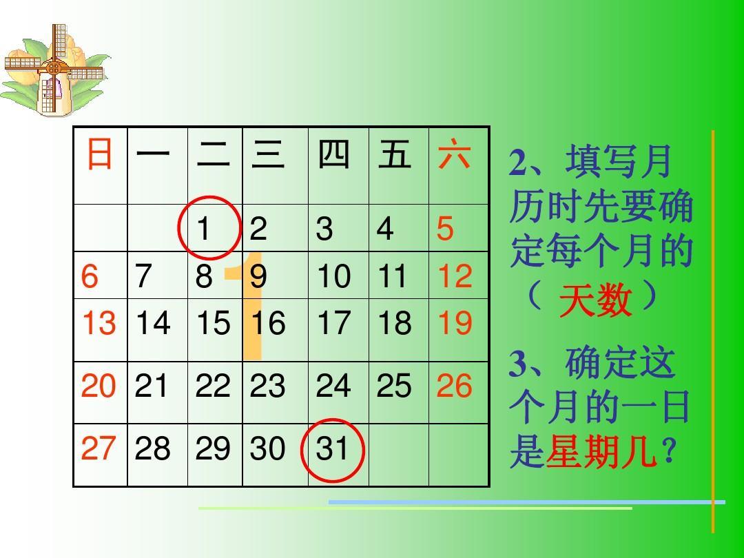 (人教版)三年级数学下册课件_制作年历ppt图片