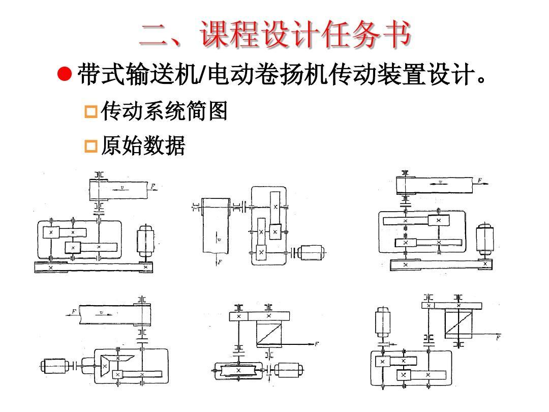 二,课程设计任务书   带式输送机/电动卷扬机传动装置设计.