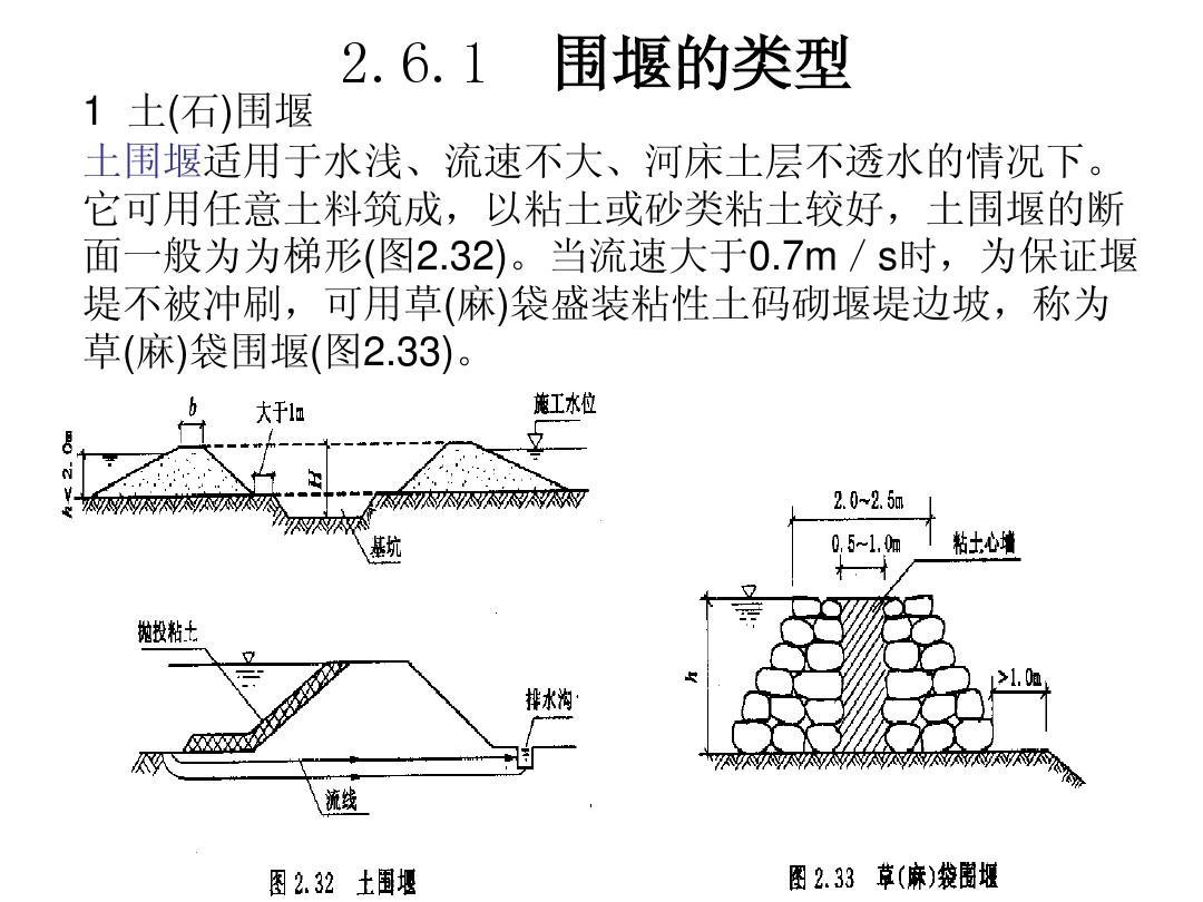 以粘土或砂类粘土较好,土围堰的断 面一般为为梯形(图2.图片