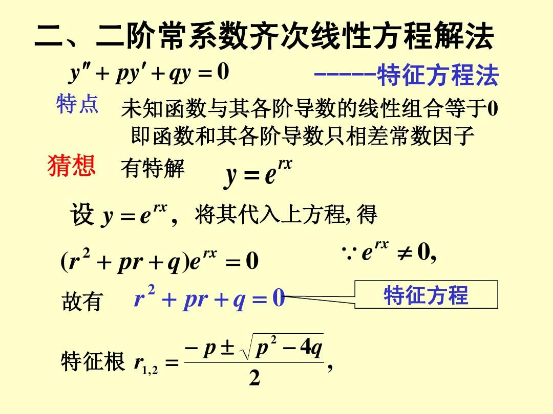 第十二章 二阶常系数齐次线性微分方程PPT