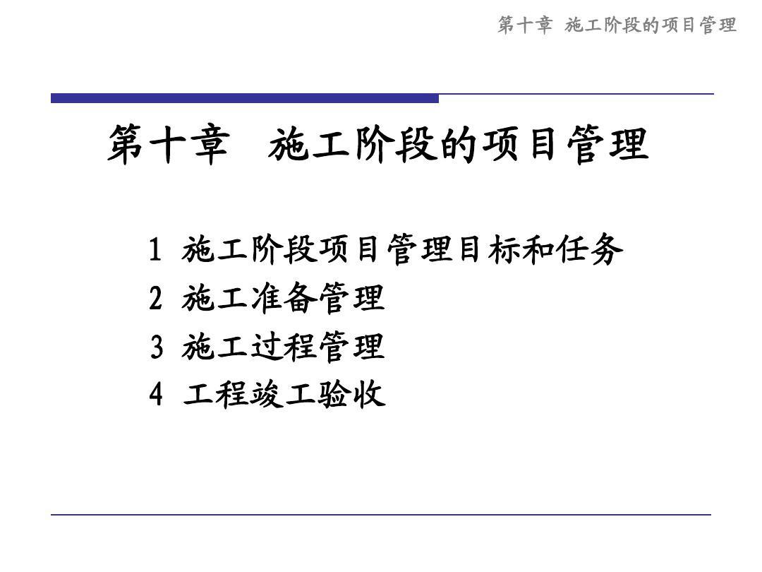 10施工阶段的项目管理=同济大学项目管理