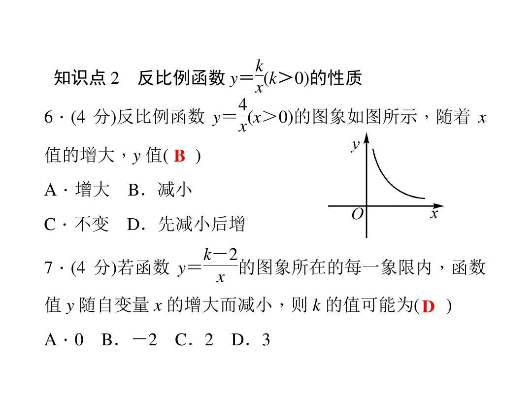 论+�y�nY�XXދK_2.1 反比例函数y=k÷x(k>0)的图象与性质ppt