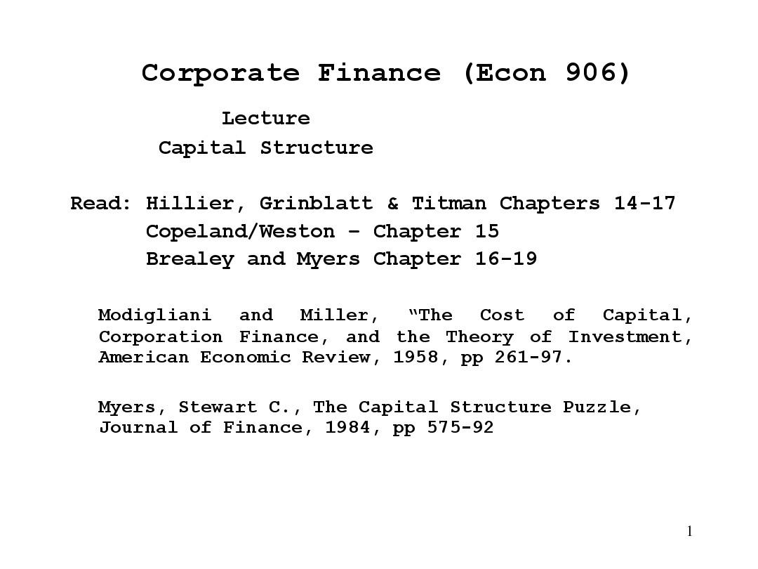 summary capital strucure copeland and weston Find great deals for financial theory and corporate policy by j fred weston and thomas e copeland (1988, hardcover) shop with confidence on ebay.