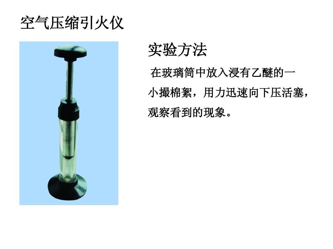 空气压缩引火仪 实验方法 在玻璃筒中放入浸有乙醚的一 小撮棉絮,用力图片
