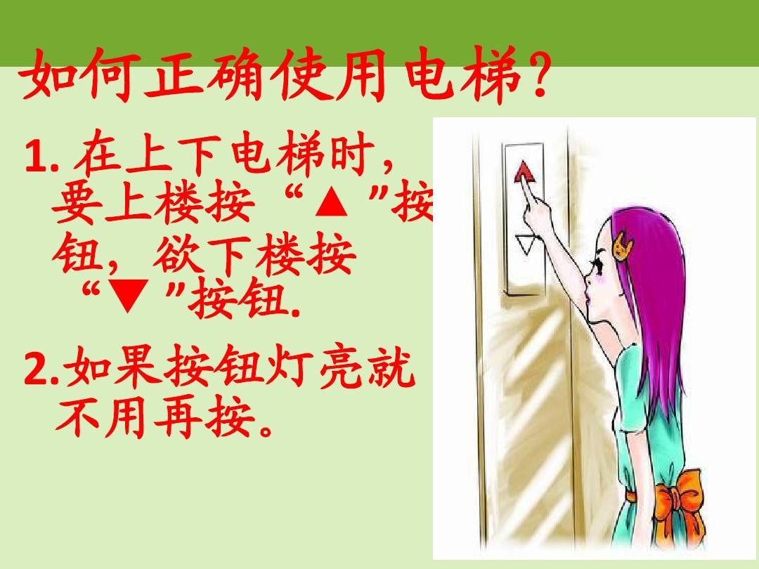 乘坐电梯小贴士_儿童电梯乘坐安全知识讲座ppt