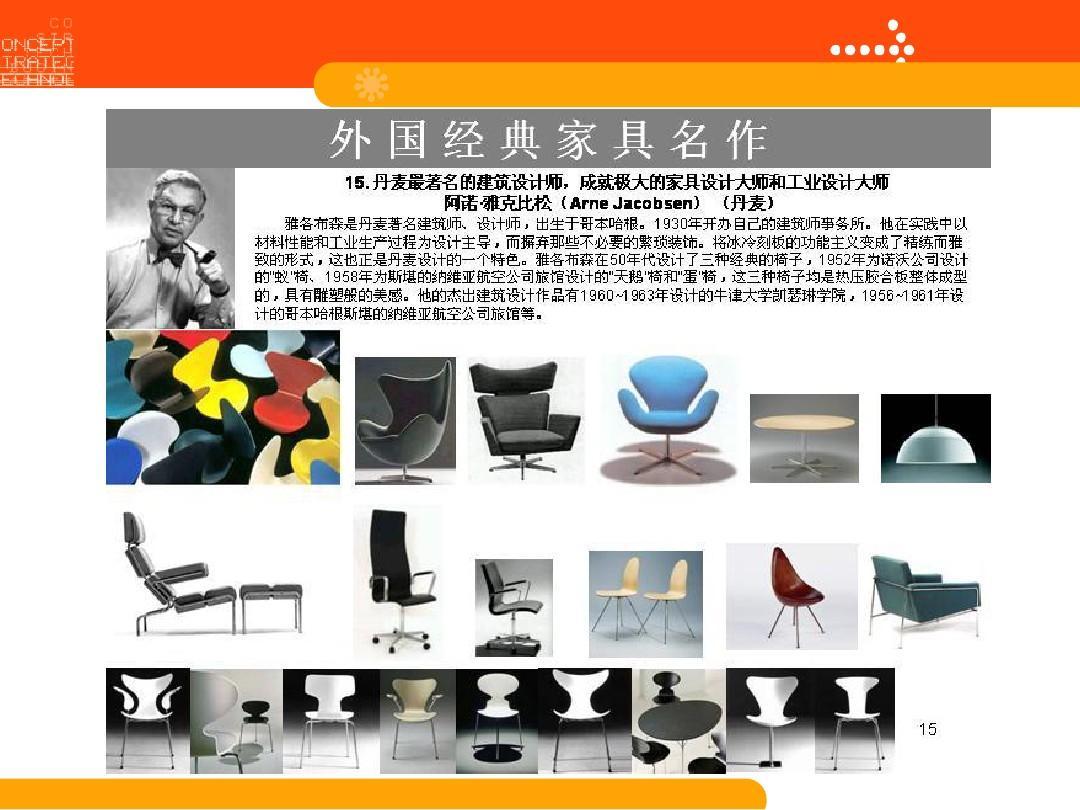 国外著名家具设计师作品v家具ppt计算机平面设计专业课程设置图片