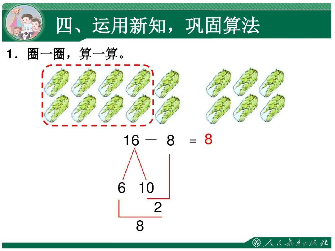 《十几减8》人教-新版数学版一年级减法单元第二下册20以内的退位课件高初中的临沂市升学率图片