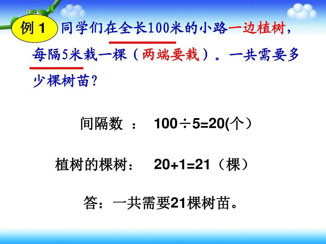 五教学数学问题《植树年级》(广角都栽)ppt延伸和弦两端图片
