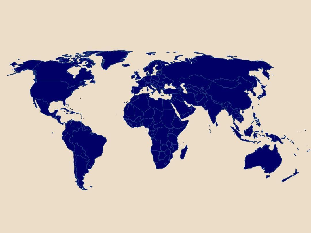 世界地图(每个国家边界标出,可任意填充颜色)ppt图片