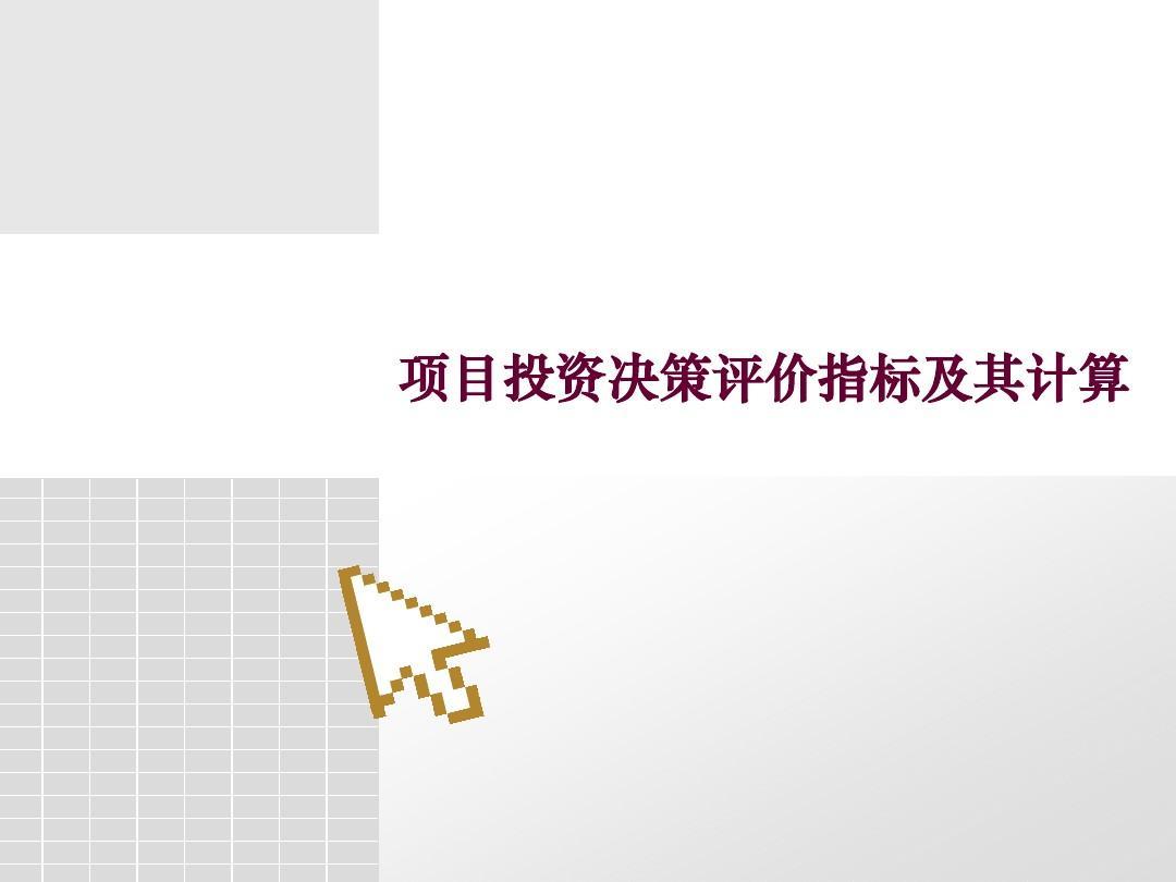 第二节__项目投资决策评价指标及其计算PPT