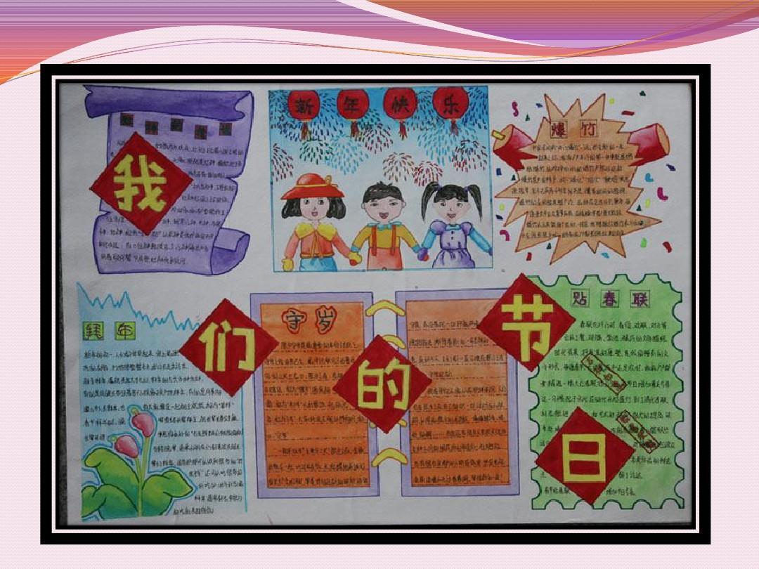 小学生寒假春节手抄报,模板.