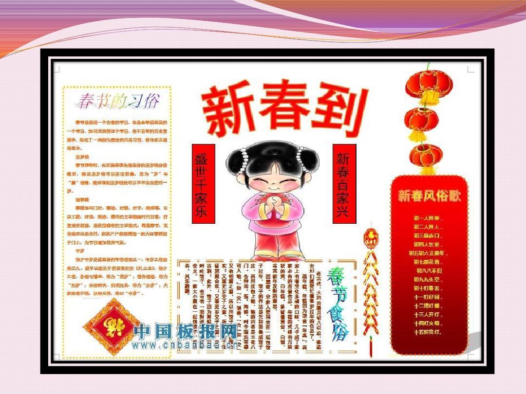寒假春节手抄报模板ppt图片