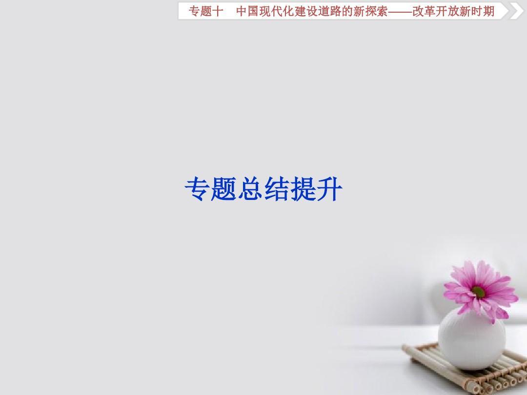 2019届高考历史总复习专题十中国现代化建设道路的新探索_改革开放新时期专题总结提升课件